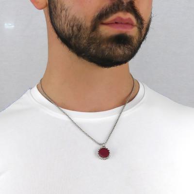 Collana con agata rossa