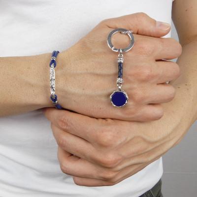 Portachiavi circolare con agata blu
