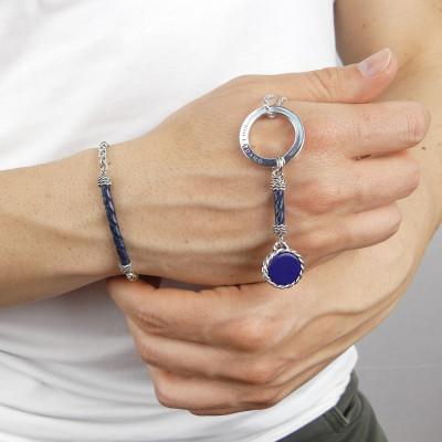 Portachiavi corda con agata blu