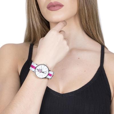 Orologio da donna con quadrante bianco e bambolina Mya in Swarovski rosa e fucsia