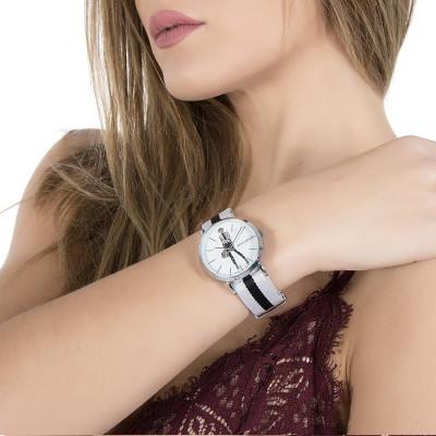 Orologio da donna con quadrante bianco e bambolina Mya in Swarovski crystal e neri