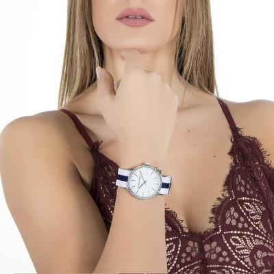 Orologio donna con quadrante bianco, cassa in Swarovski, charm laterale e cinturino in nylon