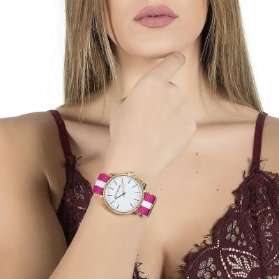 Orologio donna con quadrante bianco, cassa dorata in Swarovski, charm laterale e cinturino in nylon