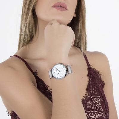 Orologio donna con quadrante bianco, cassa silver e charm rosato laterale
