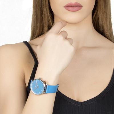 Orologio donna con cinturino in pelle azzurra e charm laterale