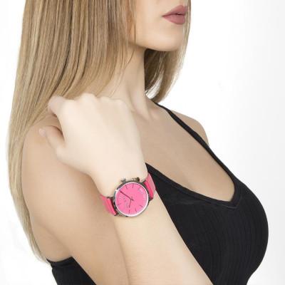 Orologio donna con cinturino in pelle fucsia e charm laterale
