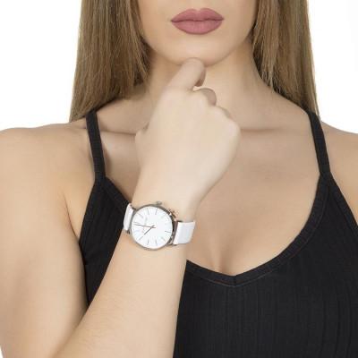 Orologio donna con cinturino in pelle bianca e charm laterale