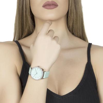 Orologio donna con cinturino in pelle color latte e menta e charm laterale