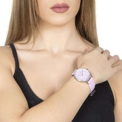 Orologio donna con cinturino in pelle lilla e charm laterale