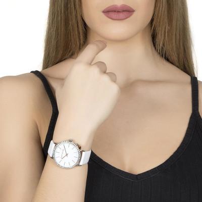 Orologio donna con cinturino in pelle bianca, cassa in Swarovski e charm laterale