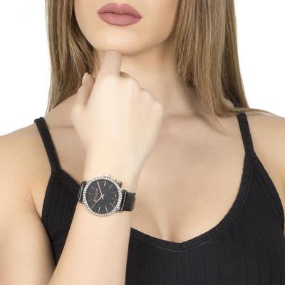Orologio donna con cinturino in pelle nera, cassa in Swarovski e charm laterale