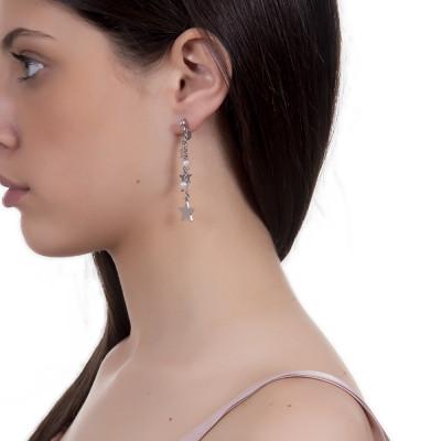 Orecchini a ciuffetto con stelle e perle naturali