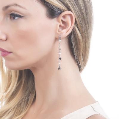 Orecchini con pendente a ciuffetto di perle naturale stelle