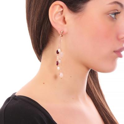 Orecchini a ciuffetto con perle naturali, granato, quarzo rosa e cristallo di rocca