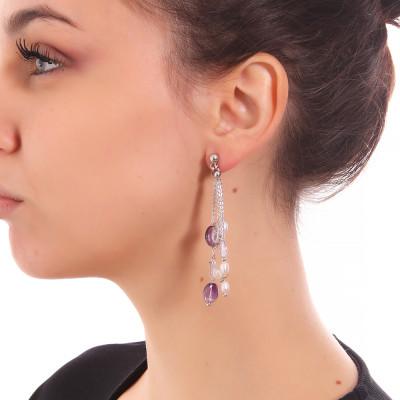 Orecchini a ciuffetto con perle naturali, ametista e cristallo di rocca