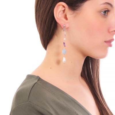 Orecchini pendenti con perle naturali, ametista e acquamarina