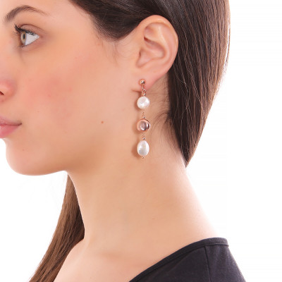 Orecchini placcati oro rosa con perle a bottone