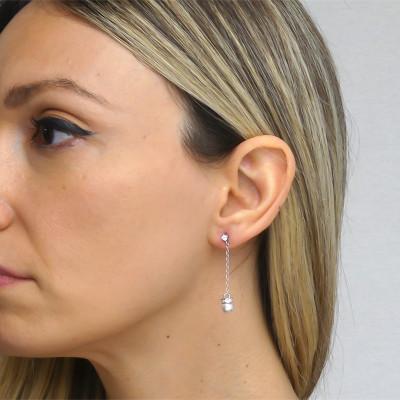 Orecchini pendenti con punto luce e perla Swarovski