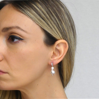 Orecchini con perle Swarovski e zirconi
