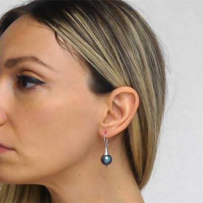 Orecchini monachella con perla Swarovski tahitian look