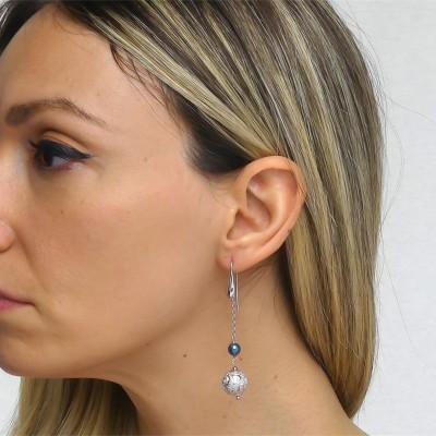 Orecchini pendenti con perla Swarovski tahitian look e boul diamantata