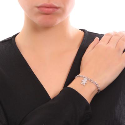 Bracciale con pendente dal profilo di bimbo e zircone nero