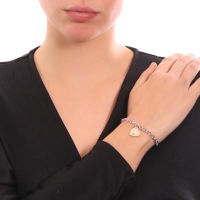 Bracciale bicolor con cuore pendente e zircone nero