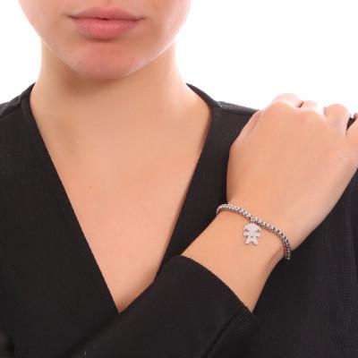 Bracciale beads con profilo di bimba pendente e zircone nero