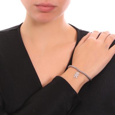 Bracciale beads con profilo di bimbo pendente e zircone nero