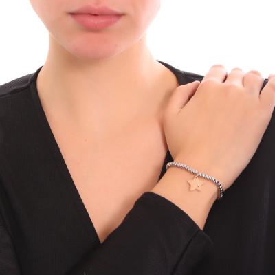 Bracciale beads bicolor con stella e zircone