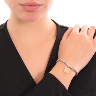Bracciale beads bicolor con quadrifoglio e zircone