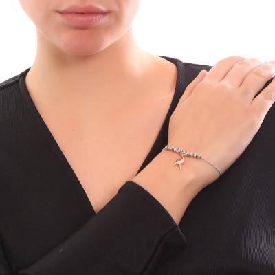 Bracciale morbido con beads centrali e fenicottero pendente