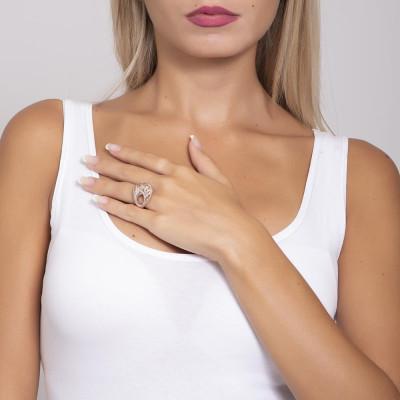 Anello placcato oro rosa in elettrofusione con decoro in glitter silver
