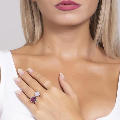 Anello aperto con cristallo ametista e quarzo rosa milk