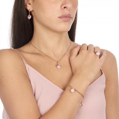 Anello placcato oro rosa con cristallo color quarzo rosa