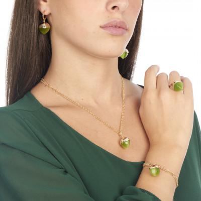 Anello con cristallo pendente color olivina