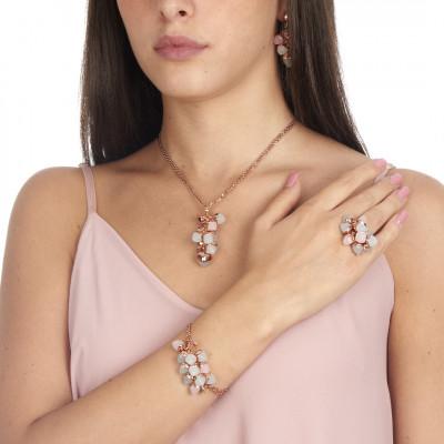 Anello con ciuffo di cristalli acquamarina e quarzo rosa