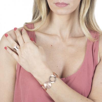 Anello placcato oro rosa a fascia con Swarovski
