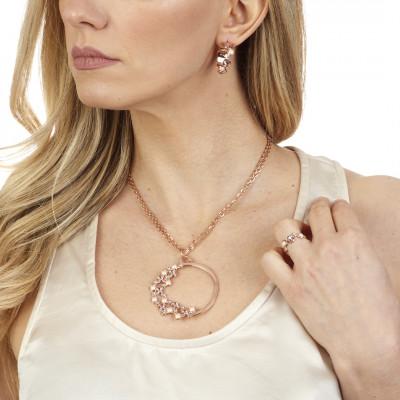 Anello con Swarovski crystal, vintage rose e white pearl