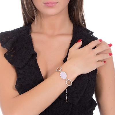 Bracciale con decori arabeschi, zirconi e cristalli briolette rosa