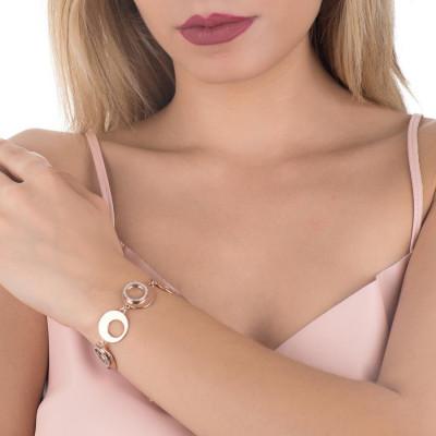 Bracciale semirigido placcato oro rosa con moduli graffiati e zirconi