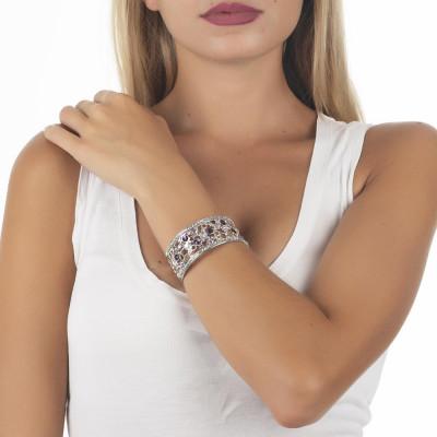 Bracciale a fascia con decoro di Swarovski crystal e ametyst