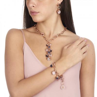 Bracciale maglia ovale con cristalli color quarzo rosa e tanzanite