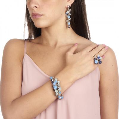 Bracciale con grappolo di cristalli color tanzanite, acquamarina e calcedonio