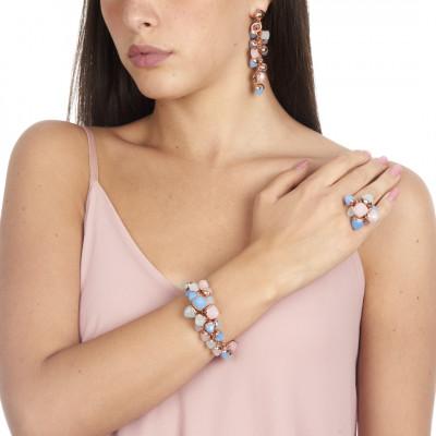 Bracciale con grappolo di cristalli color acquamarina, quarzo rosa e calcedonio