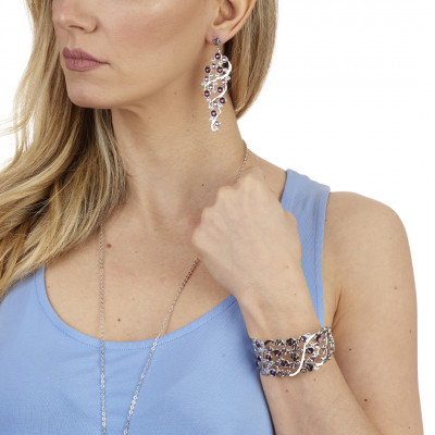 Bracciale a fascia con Swarovski crystal, light amethyst e amethyst
