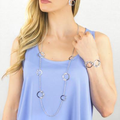 Bracciale con Swarovski crystal, blue shade e white pearl