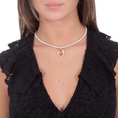 Collana di perle Swarovski con cristallo champagne e zirconi