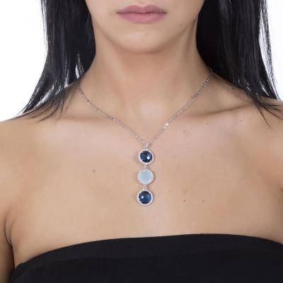 Collana con pendente in cristallo Montana e aquamilk e zirconi