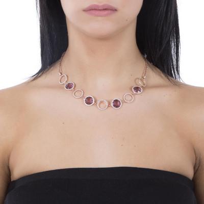 Collana doppio filo con cristalli ametista e zirconi